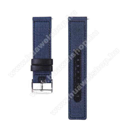 HUAWEI Watch MagicUNIVERZÁLIS 20mm-es okosóra szíj - szövet / valódi bőr, 85mm + 95mm hosszú, 19mm széles - KÉK / FEKETE