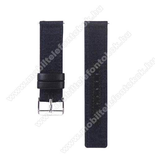 UNIVERZÁLIS 20mm-es okosóra szíj - szövet / valódi bőr,  85mm + 95mm hosszú, 20mm széles - SÖTÉTKÉK / FEKETE - SAMSUNG Galaxy Watch 42mm / Xiaomi Amazfit GTS / SAMSUNG Gear S2 / HUAWEI Watch GT 2 42mm / Galaxy Watch Active / Active 2