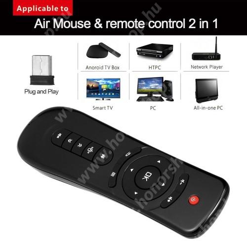 HUAWEI Honor V40 5G UNIVERZÁLIS 2.4GHz Wireless távirányító - 6 tengelyes mozgásérzékelős egér, Android, Windows, Linux, TV, TV Box, PC, Projektorokkal is használható, 15 gombos,  2x AAA elemmel működik (NEM TARTOZÉK) - FEKETE