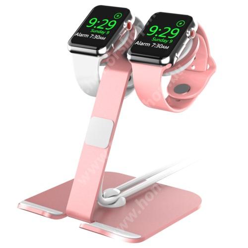 """HUAWEI Honor V40 5G UNIVERZÁLIS 2 az 1-ben Apple Watch / Tablet / Telefon tartó asztali állvány - alumínium, kábelelvezető, egyszerre két óra is tölthető vele, 3.5-13""""-os készülékekig ajánlott, az Apple Watch töltő NEM TARTOZÉK! - RÓZSASZÍN"""