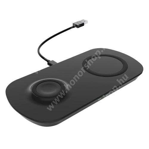 HUAWEI Honor V40 5G UNIVERZÁLIS 2 az 1-ben asztali töltő / dokkoló - QI Wireless vezetéknélküli funkció, 17.5W (max.), csúszásgátló, egyszerre 2 készülék tölthető vele, Apple Airpods / Galaxy Buds / Galaxy Watch kompatibilis, 185 x 90 x 13mm, fogadóegység nélkül! - FEKETE