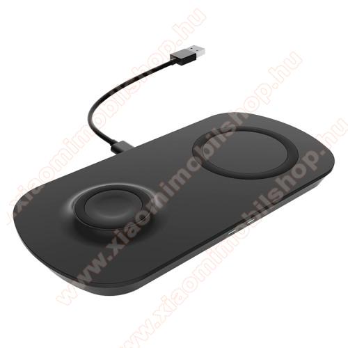 UNIVERZÁLIS 2 az 1-ben asztali töltő / dokkoló - QI Wireless vezetéknélküli funkció, 17.5W (max.), csúszásgátló, egyszerre 2 készülék tölthető vele, Apple Airpods / Galaxy Buds / Galaxy Watch kompatibilis, 185 x 90 x 13mm, fogadóegység nélkül! - FEKETE