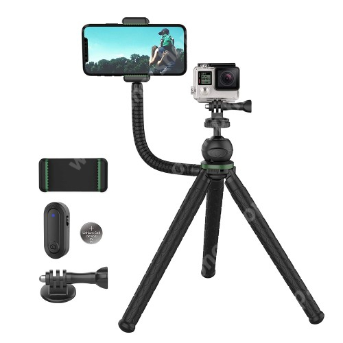 """HUAWEI Honor V40 5G UNIVERZÁLIS 2 az 1-ben Octopus Gorillapod TRIPOD állvány telefon / GoPro / fényképezőgép kompatibilis - 58-95mm-es bölcsővel, 360 fokban forgatható, 285mm hosszú flexibilis lábakkal, Bluetooth kioldó, max 2kg teherbírás, 1/4""""-es csatlakozó - FEKETE"""