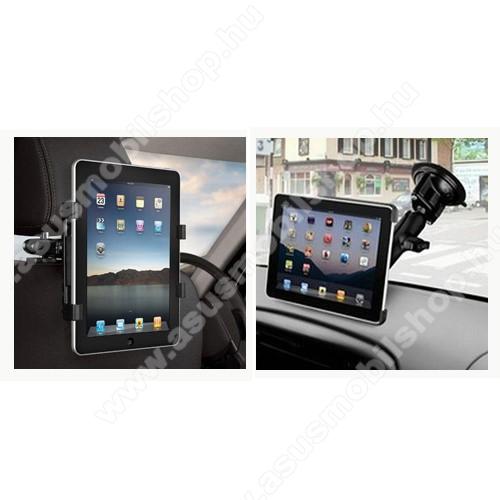 UNIVERZÁLIS 2 az 1-ben tablet PC gépkocsi / autós tartó - 360°-ban elforgatható, fejtámlára szerelhető tartóval + tapadókorongos tartó, 7-10