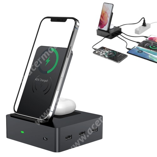 ACER Liquid Z3 UNIVERZÁLIS 6 az 1-ben QI Wireless hálózati töltő állomás vezeték nélküli töltéshez / Asztali töltő állomás (max 40W) - QI töltő kimenet telefon 15W, AirPods 5W, fogadóegység nélkül!, 3x USB port 5V/1A, 1x Type-C port 5V/3A - FEKETE