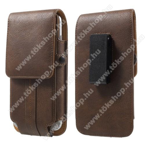 UNIVERZÁLIS álló bőrtok - BARNA - elforgatható övcsipesz, mágneses patent, bankkártyatartó / fényképtartó, 160 x 82 x 15mm