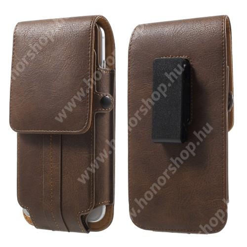 HUAWEI Honor 8 Pro UNIVERZÁLIS álló bőrtok - BARNA - elforgatható övcsipesz, mágneses patent, bankkártyatartó / fényképtartó, 160 x 82 x 15mm