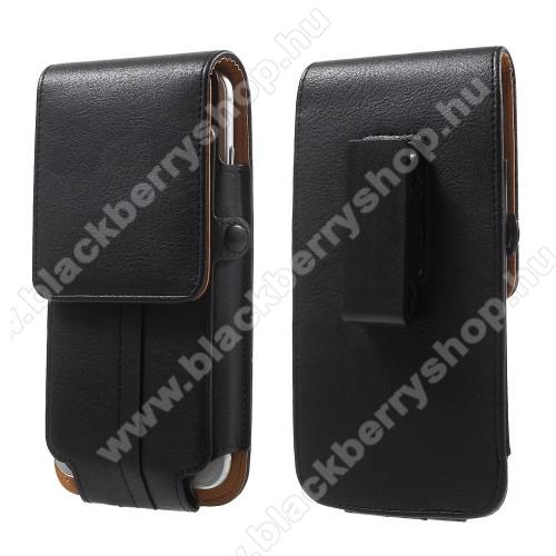 UNIVERZÁLIS álló bőrtok - FEKETE - elforgatható övcsipesz, mágneses patent, bankkártyatartó / fényképtartó, 160 x 82 x 15mm