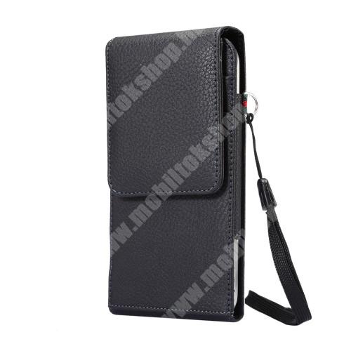 ASUS Zenfone Zoom (ZX551ML) UNIVERZÁLIS álló bőrtok - FEKETE - elforgatható övcsipesz, mágneses patent, csuklópánt, bankkáryatartó, 170 x 85 x 15mm