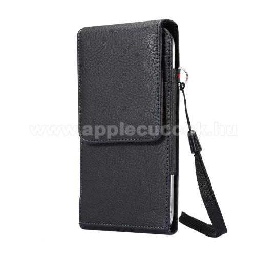 APPLE iPhone 7 PlusUNIVERZÁLIS álló bőrtok - FEKETE - elforgatható övcsipesz, mágneses patent, csuklópánt, bankkáryatartó, 170 x 85 x 15mm
