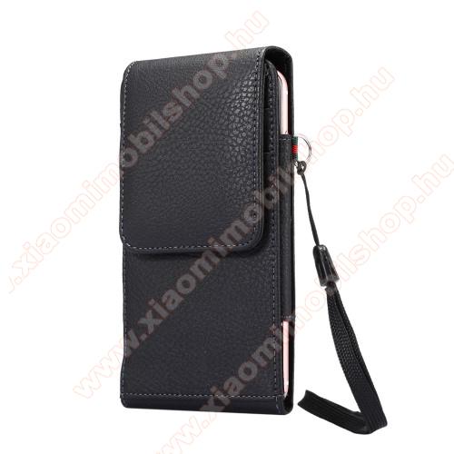 Xiaomi Redmi Note 8UNIVERZÁLIS álló bőrtok - FEKETE - elforgatható övcsipesz, mágneses patent, csuklópánt, bankkáryatartó, 165 x 81 x 15mm