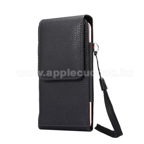 APPLE iPhone 11 Pro MaxUNIVERZÁLIS álló bőrtok - FEKETE - elforgatható övcsipesz, mágneses patent, csuklópánt, bankkáryatartó, 165 x 81 x 15mm