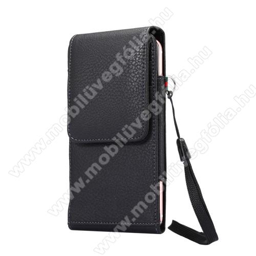 SAMSUNG Galaxy A50s (SM-A507F/DS / SM-A507FN/DS)UNIVERZÁLIS álló bőrtok - FEKETE - elforgatható övcsipesz, mágneses patent, csuklópánt, bankkáryatartó, 165 x 81 x 15mm