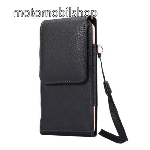 Motorola Edge UNIVERZÁLIS álló bőrtok - FEKETE - elforgatható övcsipesz, mágneses patent, csuklópánt, bankkáryatartó, 165 x 81 x 15mm
