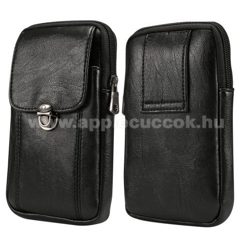 UNIVERZÁLIS álló bőrtok - FEKETE - övre fűzhető, mágnesescsatos, cipzár záródás - 170 x 95mm