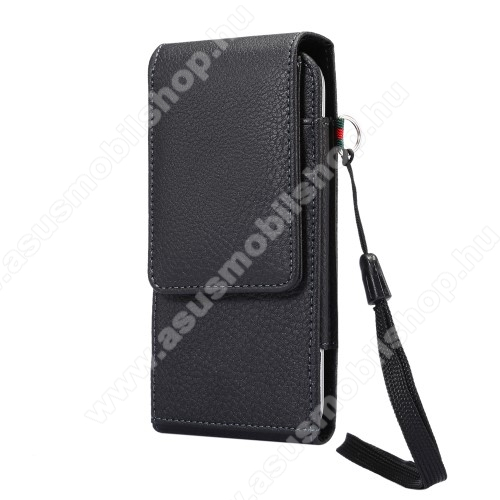 ASUS Zenfone Max Pro (M1) (ZB602KL)UNIVERZÁLIS álló bőrtok - mágnespatent, elforgatható övcsipesz, bankkártyatartó, 160 x 78 x 18mm - FEKETE