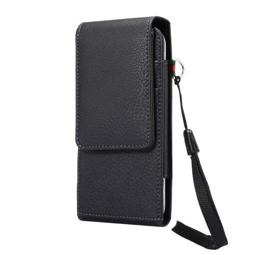 UNIVERZÁLIS álló bőrtok - mágnespatent, elforgatható övcsipesz, bankkártyatartó, 160 x 78 x 18mm - FEKETE