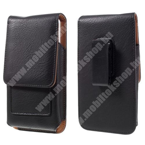 SAMSUNG SM-A207F Galaxy A20s UNIVERZÁLIS álló bőrtok - mágnespatent, elforgatható övcsipesz, bankkártyatartó, 172 x 90 x 15mm - FEKETE