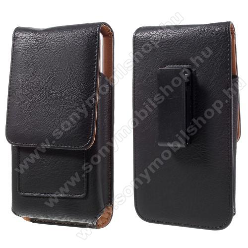 SONY Xperia XZ2 Premium (2018)UNIVERZÁLIS álló bőrtok - mágnespatent, elforgatható övcsipesz, bankkártyatartó, 172 x 90 x 15mm - FEKETE