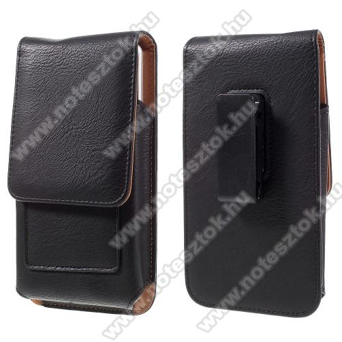 SAMSUNG SM-G770F Galaxy S10 LiteUNIVERZÁLIS álló bőrtok - mágnespatent, elforgatható övcsipesz, bankkártyatartó, 172 x 90 x 15mm - FEKETE
