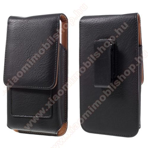 Xiaomi Redmi Note 7 ProUNIVERZÁLIS álló bőrtok - mágnespatent, elforgatható övcsipesz, bankkártyatartó, 172 x 90 x 15mm - FEKETE