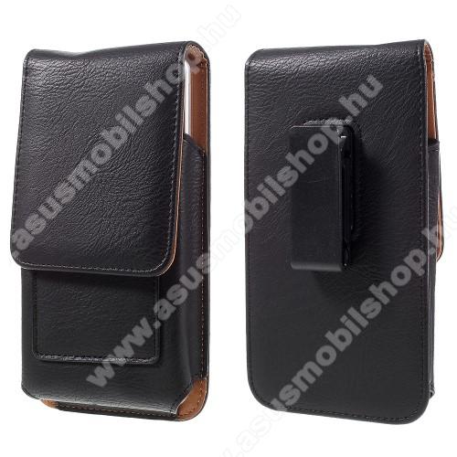 ASUS ROG PhoneUNIVERZÁLIS álló bőrtok - mágnespatent, elforgatható övcsipesz, bankkártyatartó, 172 x 90 x 15mm - FEKETE