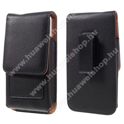 Huawei Ascend Mate 2UNIVERZÁLIS álló bőrtok - mágnespatent, elforgatható övcsipesz, bankkártyatartó, 172 x 90 x 15mm - FEKETE
