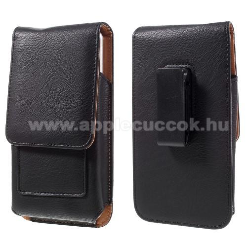 APPLE iPhone XS MaxUNIVERZÁLIS álló bőrtok - mágnespatent, elforgatható övcsipesz, bankkártyatartó, 172 x 90 x 15mm - FEKETE