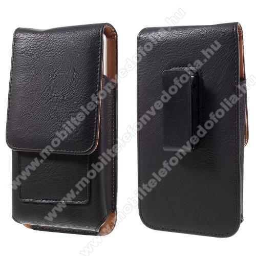 SAMSUNG SM-A750F Galaxy A7 (2018)UNIVERZÁLIS álló bőrtok - mágnespatent, elforgatható övcsipesz, bankkártyatartó, 172 x 90 x 15mm - FEKETE