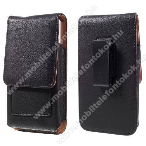 Sony Xperia XZ3UNIVERZÁLIS álló bőrtok - mágnespatent, elforgatható övcsipesz, bankkártyatartó, 172 x 90 x 15mm - FEKETE