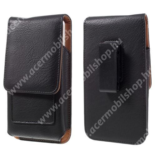 UNIVERZÁLIS álló bőrtok - mágnespatent, elforgatható övcsipesz, bankkártyatartó, 172 x 90 x 15mm - FEKETE