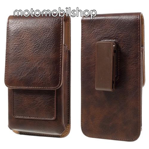 UNIVERZÁLIS álló bőrtok - mágnespatent, elforgatható övcsipesz, bankkártyatartó, 172 x 90 x 15mm - BARNA