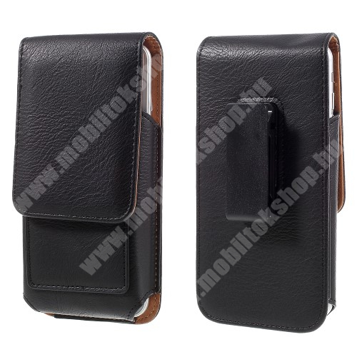 HomTom HT7 UNIVERZÁLIS álló bőrtok - mágnespatent, elforgatható övcsipesz, bankkártyatartó, 160 x 84 x 18mm - FEKETE
