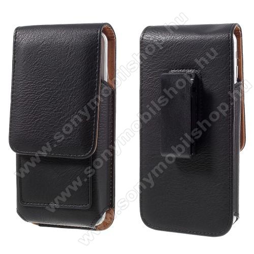 SONY Xperia C3 DUAL (D2502)UNIVERZÁLIS álló bőrtok - mágnespatent, elforgatható övcsipesz, bankkártyatartó, 160 x 84 x 18mm - FEKETE