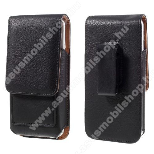ASUS Zenfone 3 Deluxe (ZS570KL)UNIVERZÁLIS álló bőrtok - mágnespatent, elforgatható övcsipesz, bankkártyatartó, 160 x 84 x 18mm - FEKETE