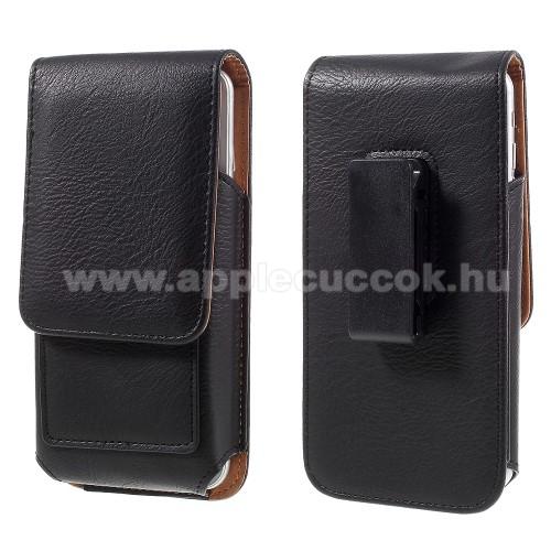 APPLE iPhone 11 Pro MaxUNIVERZÁLIS álló bőrtok - mágnespatent, elforgatható övcsipesz, bankkártyatartó, 160 x 84 x 18mm - FEKETE