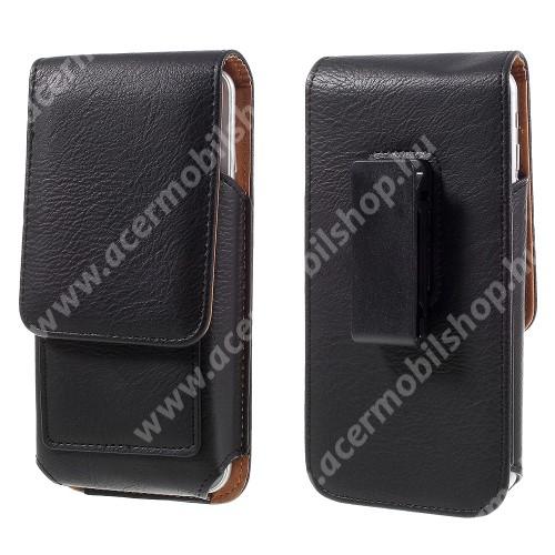 UNIVERZÁLIS álló bőrtok - mágnespatent, elforgatható övcsipesz, bankkártyatartó, 160 x 84 x 18mm - FEKETE