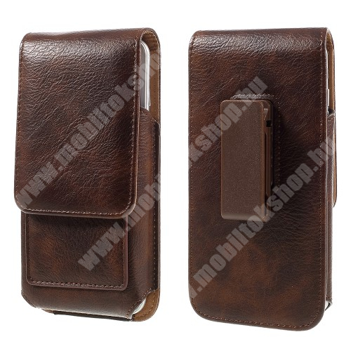OPPO R15 Pro UNIVERZÁLIS álló bőrtok - mágnespatent, elforgatható övcsipesz, bankkártyatartó, 160 x 84 x 18mm - BARNA
