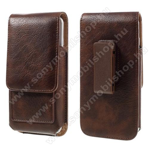 SONY Xperia C3 DUAL (D2502)UNIVERZÁLIS álló bőrtok - mágnespatent, elforgatható övcsipesz, bankkártyatartó, 160 x 84 x 18mm - BARNA