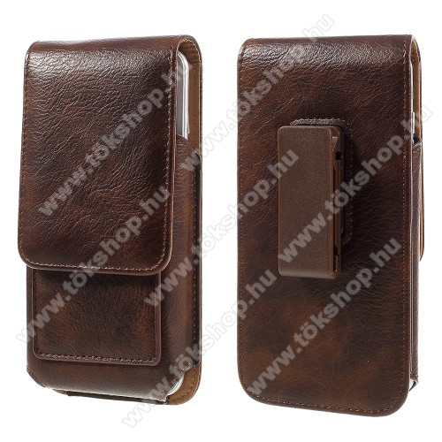 UNIVERZÁLIS álló bőrtok - mágnespatent, elforgatható övcsipesz, bankkártyatartó, 160 x 84 x 18mm - BARNA