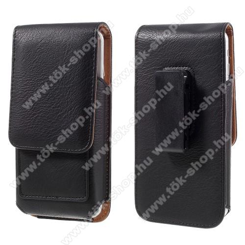 UNIVERZÁLIS álló bőrtok - mágnespatent, elforgatható övcsipesz, bankkártyatartó, 140 x 70 x 15mm - FEKETE