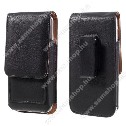 SAMSUNG GT-I9506 Galaxy S IV.UNIVERZÁLIS álló bőrtok - mágnespatent, elforgatható övcsipesz, bankkártyatartó, 140 x 70 x 15mm - FEKETE
