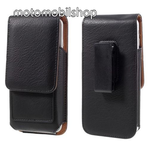 MOTOROLA Atrix HD (MB886) UNIVERZÁLIS álló bőrtok - mágnespatent, elforgatható övcsipesz, bankkártyatartó, 140 x 70 x 15mm - FEKETE