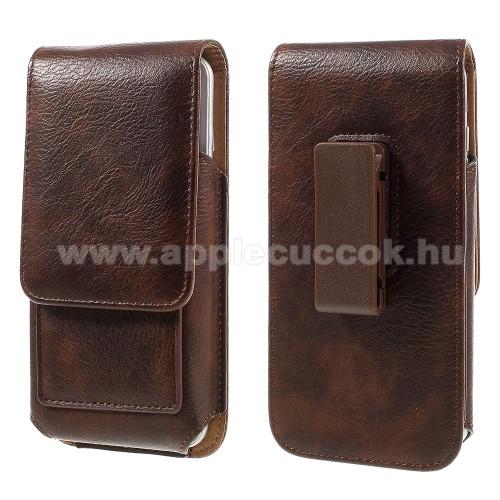 UNIVERZÁLIS álló bőrtok - mágnespatent, elforgatható övcsipesz, bankkártyatartó, 140 x 70 x 15mm - BARNA