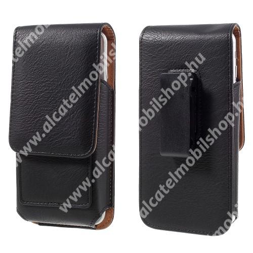 UNIVERZÁLIS álló bőrtok - mágnespatent, elforgatható övcsipesz, bankkártyatartó, 150 x 80 x 18mm - FEKETE