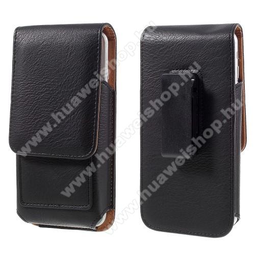 HUAWEI Ascend G750 (Honor 3X)UNIVERZÁLIS álló bőrtok - mágnespatent, elforgatható övcsipesz, bankkártyatartó, 150 x 80 x 18mm - FEKETE