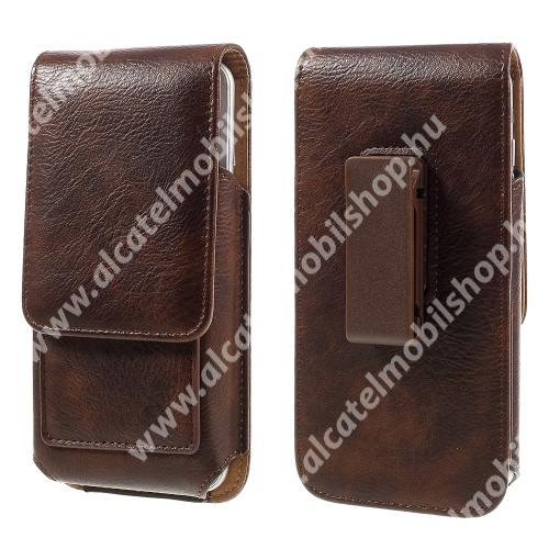 UNIVERZÁLIS álló bőrtok - mágnespatent, elforgatható övcsipesz, bankkártyatartó, 150 x 80 x 18mm - BARNA
