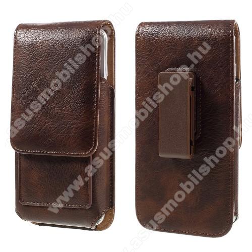 ASUS PadFone Infinity LiteUNIVERZÁLIS álló bőrtok - mágnespatent, elforgatható övcsipesz, bankkártyatartó, 150 x 80 x 18mm - BARNA