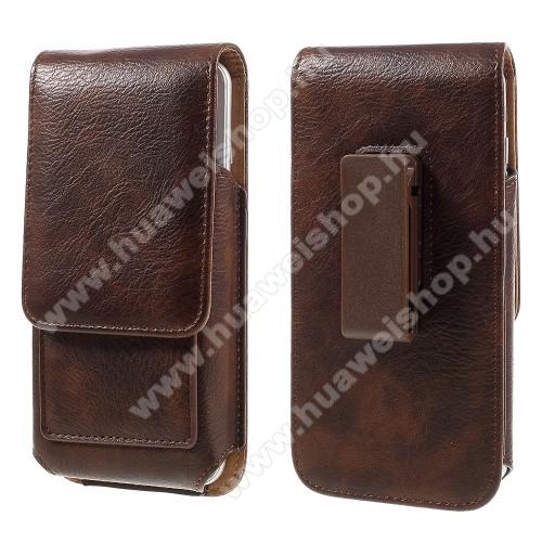 HUAWEI Mate SUNIVERZÁLIS álló bőrtok - mágnespatent, elforgatható övcsipesz, bankkártyatartó, 150 x 80 x 18mm - BARNA