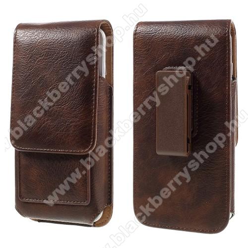 BLACKBERRY DTEK50UNIVERZÁLIS álló bőrtok - mágnespatent, elforgatható övcsipesz, bankkártyatartó, 150 x 80 x 18mm - BARNA